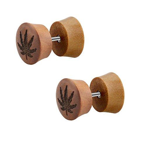 2pieza Madera Fake Plug Pendientes Hoja de Marihuana marrón pendientes túnel Diámetro 10mm