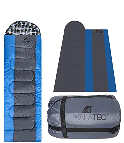 MT MALATEC Schlafsack Camping Schafsack Schlafdecke Zelten Hüttenschlafsack 10248, Farbe:Blau-Schwarz
