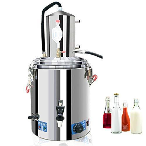ZHBD 30L / 6.6 GAL Inicio Distiller Moonshine Alcohol Biet Septents Kit, 304 Acero Inoxidable Agua Alcohol Distiller, Kit De Fabricación De Vinos De Brew Brew para Whisky Brandy,30L