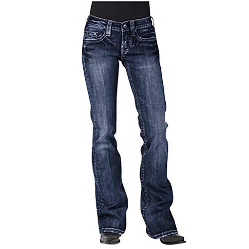 Pantalon Femme Jean Taille Haute Chic, YUYOUG Femmes Jeans Taille Moyenne Denim Jeans Broderie Stretch Button Pantalon Droit Jeans