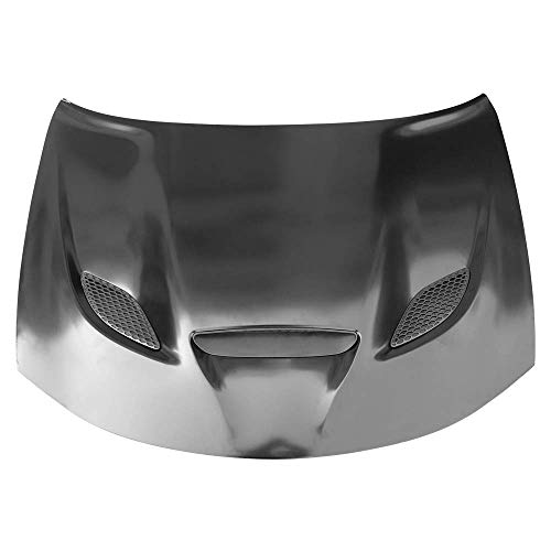 IKON MOTORSPORTS | Hood Compatible With 2015-2020 Dodge Charger | SRT Style Hood Scoop Air Vent Black Aluminum With Heat Extractor Ram Air | 2016 2017 2018 2019