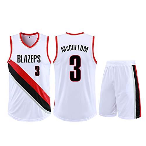 Camiseta de baloncesto para niños de la juventud de 2 piezas Set Trail Blazers CJ McCollum 3#, Hombres de Rendimiento de Poliéster Entrenamiento Gimnasio Ropa Deportiva Sin Mangas Unisex Baloncesto Sudadera, Neutral, Hombre, color blanco, tamaño L