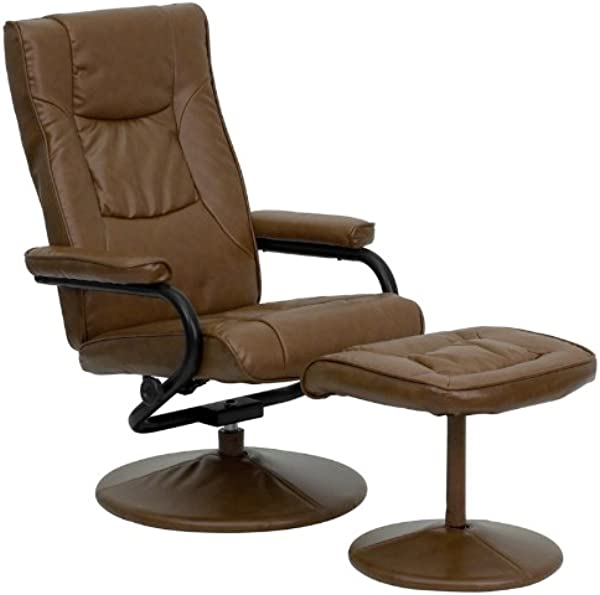 Flash Furniture Contemporary Multi Position Recliner And Ottoman With Wrapped Base In Palimino Leather