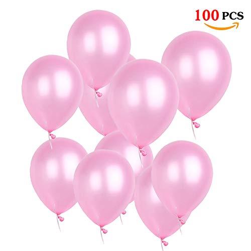 O-Kinee Globos Rosas,100 Piezas Globos Helio Latex Perla Globos Ø 30 cm para Niña Bautizos Comunion Baby Shower Rosa,1 Año Cumpleaños,Bodas Aniversario Fiesta Arco Decoracion