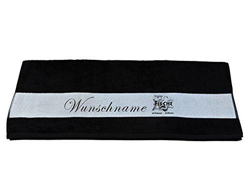 Handmade Badetuch/Handtuch mit Sternzeichen Fische u. Wunschname bedruckt 70x140 o. 50x100 (schwarz, Badetuch 70x140)