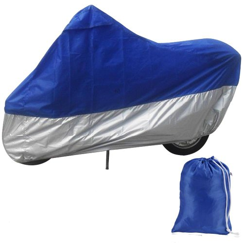 Sonline HOUSSE BACHE MOTO Couvre-Moto velo VTT scooter Taille XL 245cm bleu argente protection