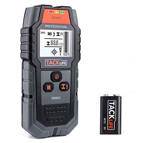 Detector de Pared, TACKLIFE DMS03 4 en 1, Detector de Cable y Tuberia, Metal, Madera,...