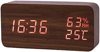 Bloomma Pantalla LED Reloj Digital de sobremesa de Madera Bambú ...