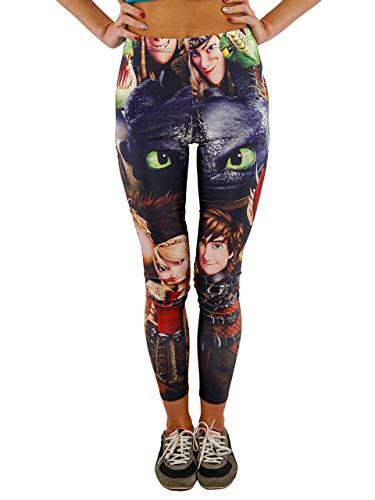 Vivian's Fashions Leggings Largos – Cómo Entrenar a tu dragón impresión, Negro, Talla única