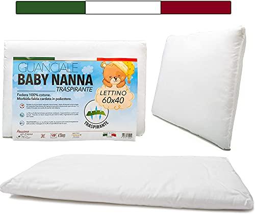 Cuscino Lettino Bambino (100% Made in Italy e OEKO-TEX®) - Cuscino Bambino Taglia 40x60 cm - Cuscino per Bambini Traspirante, Antiacaro, Antiallergico, Antisoffoco - Cuscino Culla Neonato