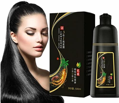 10 Minutes Herbal Hair Darkening Shampoo, Black Hair Dye Shampoo 3 In 1, Organic Natural Fast Hair Dye, Multi-Color Hair Dye for Men and Women,Plant-Based Hair Color (black)