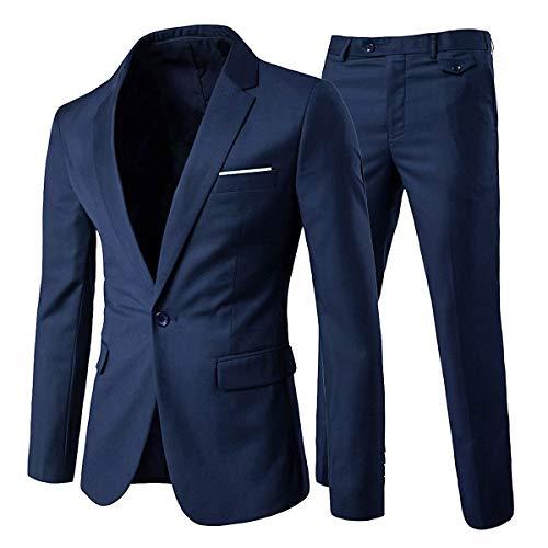 Allthemen Abiti da Uomo Abito da Sposa Slim Fit a 2 Pezzi Abito da Lavoro con Un Bottone Giacche Blazer Pantaloni Blu Navy S