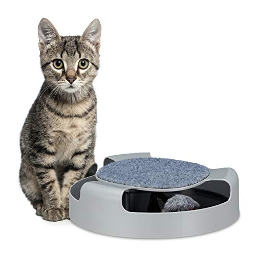 Relaxdays Katzenspielzeug, Katzenbahn mit Spielzeugmaus, Kratzfläche, Beschäftigung, interaktiv, HxD: 7 x 25,5 cm, grau