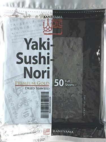 Yakinori Premium Gold, Noriblätter, Nori, Seetang, geröstet, für Sushi, ganzes 50 Blatt, 1er Pack (1 x 140 g)