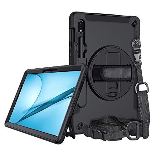 A-BEAUTY Funda para Galaxy Tab S7 11 2020 (SM-T870/T875), con correa de mano, correa para el hombro, soporte, tapón contra el polvo, resistente a los golpes, color negro