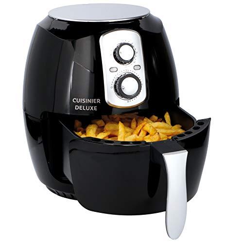 Cuisinier Deluxe Friteuse à air Chaud sans Huile-3,6L et 1400W-Noir/Argent
