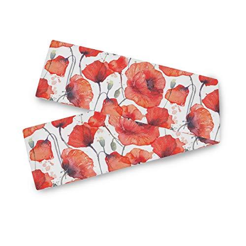 TropicalLife F17 - Camino de mesa rectangular para acuarela, diseño de amapola, 33 x 177 cm, poliéster, para decoración de bodas, cocina, fiestas, banquetes, comedores, mesas de centro