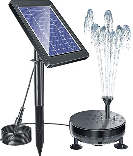Solar Fountain Pump, 2021 Newest Solar Powered Water Pump Outdoor Built-in 1800mAh Battery, 5 Nozzles for Garden Pool Bird Bath Outdoors Ponds Solar Water Pump Kit