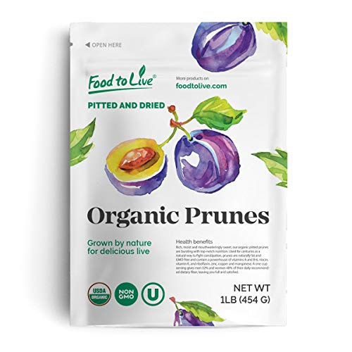 Organic Pitted Prunes, 1 Pound — Dried California Plums, Non-GMO, Kosher, Unsulfured, Unsweetened, Bulk