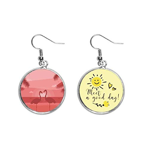 Flamingo couple Red Dusk Art Deco Gift Fashion Ear Drop Sun Flower Earring Jewelry Fashion