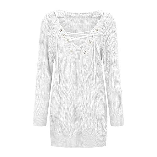 Yue668 - Blusa de mujer con capucha y cuello en V para mujer, talla grande