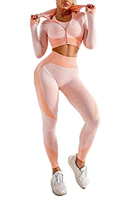 Track Suits for Women Seamless Workout Set Gym Clothes Pink M