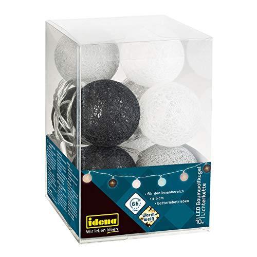 Idena 31019 - LED Lichterkette mit 10 LED Baumwollkugeln, grau-weiß, batteriebetrieben, mit 6 Stunden Timer Funktion, Innenbereich, ca. 1,65 m, für Partys, Weihnachten, Deko, als Stimmungslicht