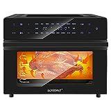 LLIVEKIT Airfryer WAO0025DE - Freidora de aire caliente, mini horno de aire caliente, pantalla táctil LED, con recirculación con recetas, 18 ajustes predeterminados, 7 accesorios, 30 L, 1800 W