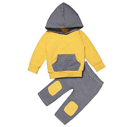 Janly Clearance Sale Conjunto de pantalones para bebé recién nacido, para bebés y niñas con parche a rayas, sudadera con capucha y pantalones, conjunto de sudaderas para Navidad (amarillo-0-6 meses)