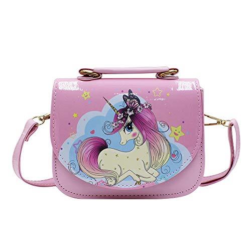 Eilova Orityle Kids Crossbody Purse Elegant Unicorn Princess Shoulder Tote Bag Cute Clutch Handbag for Little Girls Pink