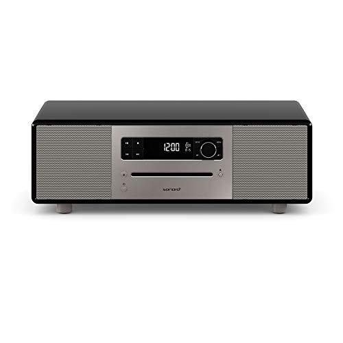 sonoro Lounge Stereoanlage mit Radio, CD-Player und Bluetooth (UKW/FM, DAB Plus, AUX, USB, MP3, Naturklänge, Meditationsinhalte) Schwarz