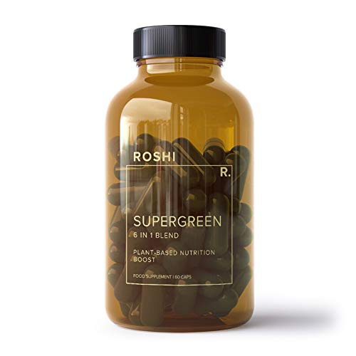 Roshi Supergreen Spirulina Spinach Alfalfa Wheatgrass Amla 5300 mg High Strength Extract -Plant Based Nutrition Boost - Allergen Free and Suitable for Vegetarians and Vegans - 60 Capsules