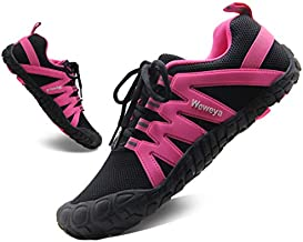 Womens Minimalist Shoes Barefoot Gym Weightlifting Comfortable Five Toe Box Shoes Workout Cross Training Bunion Black Hot Pink US Size 6 6.5