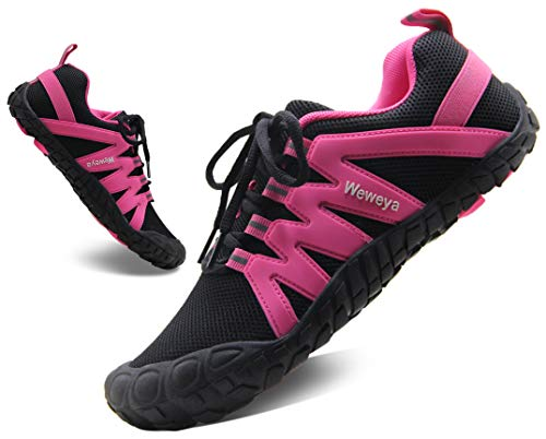 Minimalist Running Shoes for Women Five Fingers Barefoot Shoes Breathable Lightweight Wide Toe Box Sneakers Black/Hot Pink Size 39