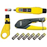 Klein Tools VDV002-818 Coax Cable Tester / Cable Installation Kit, Cable Stripper, Crimper, Coax Explorer 2, and 6 F Compression Connectors