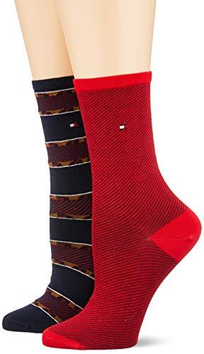 Tommy Hilfiger Damen TH WOMEN 2P LEOPARD STRIPE Socken, Mehrfarbig (Navy Red 831), 39/42 (Herstellergröße: 039) (2er Pack)