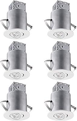 Recessed Lighting Kit: 3-Inch ETL-listed Air Tight IC Housing + White/Satin Nickel Swivel Trim + LED Dimmable GU10 Light Bulb Warm White/Daylight,6 PACK