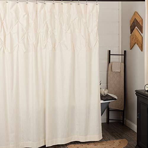 Brooke Duschvorhang mit handgeknüpften Biesenfalten, 183 cm B x 183 cm H, natürliches cremefarbenes Leinen/Baumwoll-Mischgewebe, moderner Landhaus-Stil, Bad-Vorhang