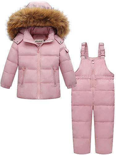ZOEREA Kinder Bekleidungsset Junge Mädchen Süß Schneeanzug mit Kaputze Daunenjacke + Daunenhose 2tlg Verdickte Skianzug Winterjacke Rosa, Etikett 110