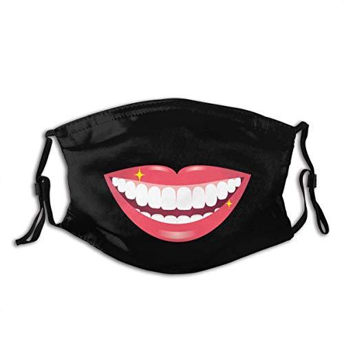 Lächelnder Mund mit weißen Zähnen Personalisierter Mundschutz mit Filter Unisex Anti-Staub-waschbarer wiederverwendbarer Mundschutz (geben Sie fünf Mundschutz)