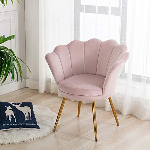 Wahson Sessel für Schlafzimmer Weicher Samt Armlehnstuhl mit Vergoldeten Metallbeinen,Freizeitsessel für Wohnzimmer/Vanity (Blassrosa)