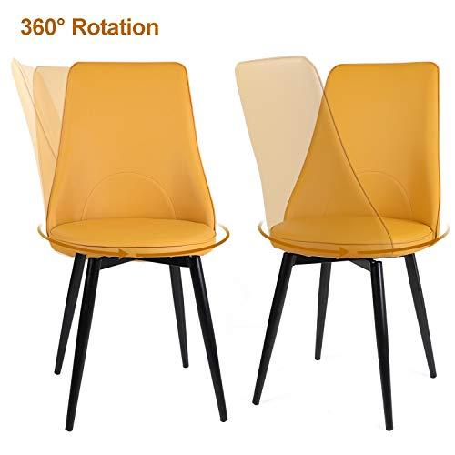Beliwin Juego de 2 sillas de comedor de piel sintética y sillas giratorias de 360 ° con asiento de respaldo alto y patas de metal para cocina, salón, comedor, oficina, color amarillo