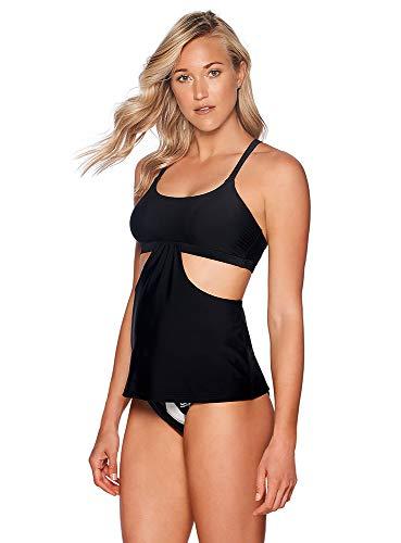 Reebok Lifestyle Women's Swimwear Strappy Tankini Bathing Suit Top, Black, Medium