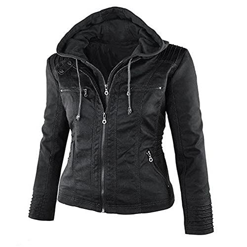 NP Mujeres Otoño Invierno Faux Soft Cuero Abrigos Lady Black Zipper Epaule