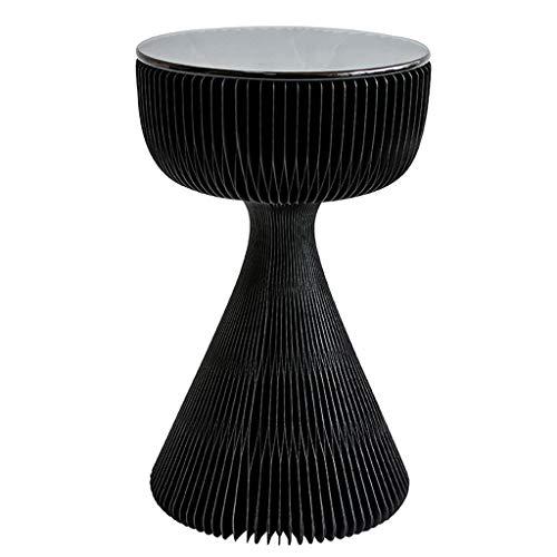 BIAOYU Mesa de centro sala de estar luz sofá mesa auxiliar pequeña mesa de café superficie de vidrio creativo Ins red diseño rojo mesita de noche estante