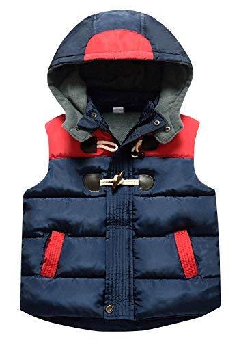 Happy Cherry Kids Girls Sleeveless Coat Horn Buttons Splice Zipper Up Detachable Hooded High Neck Padded Puffer Winter Coat 7-8T Blue