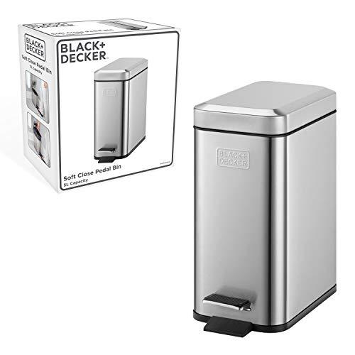 Cubo de pedal rectangular de 5l BLACK+DECKER BXBN0005GB 5L con tapa de cierre suave, acero inoxidable, 30cm x 14cm x 29cm, gris frío, perfil