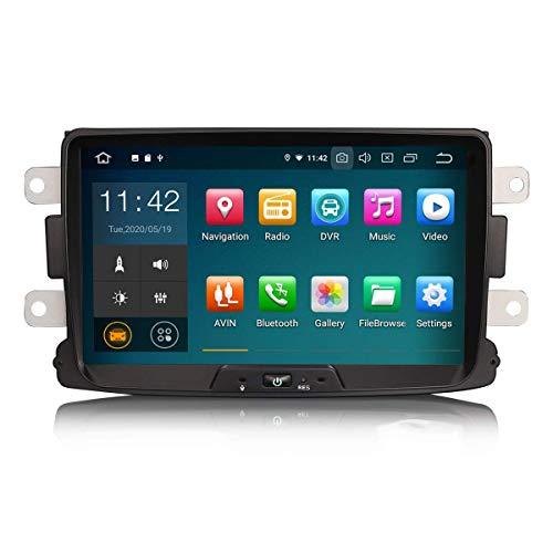 Car Navigator 8 Pulgadas Android 10.0 Car Stereo para Renault Dacia Duster Logan Sandero Dokker Soporte GPS Sat Nav Carplay Android Auto Bluetooth A2DP WiFi 4G Dab + RDS Mirror Link TPMS SWC 2GB RAM