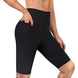 LODAY Neoprene Sauna Shorts with Pocket for Women Weight Loss Sweat Pants Workout Body Shaper Yoga Leggings (Black, XL)
