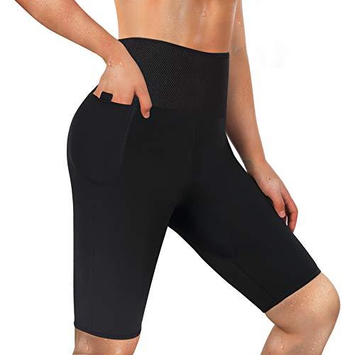 LODAY Neoprene Sauna Shorts with Pocket for Women Weight Loss Sweat Pants Workout Body Shaper Yoga Leggings (Black, XL)